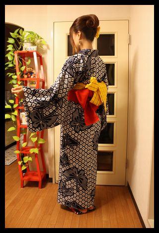 浴衣夜会巻き (4)