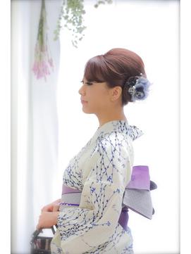 浴衣夜会巻き (9)